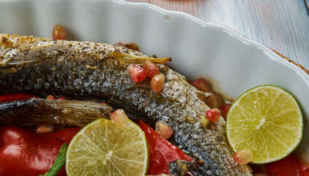 Baked Grey Mullet , Middle Eastern cuisine Levant, Traditional assorted dishes, Top view