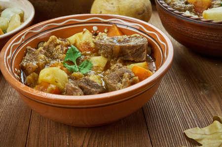 Irish Lamb and Turnip Stew, Irish cuisine, Traditional assorted dishes, Top view.