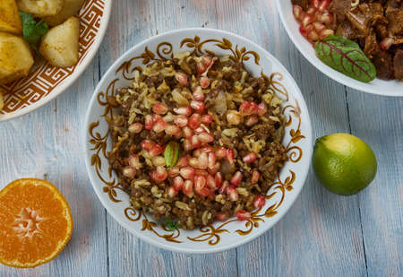 Mujadara, Lentils and Rice with Crispy Onions, Middle Eastern cuisine Levant, Traditional assorted dishes, Top view 스톡 콘텐츠