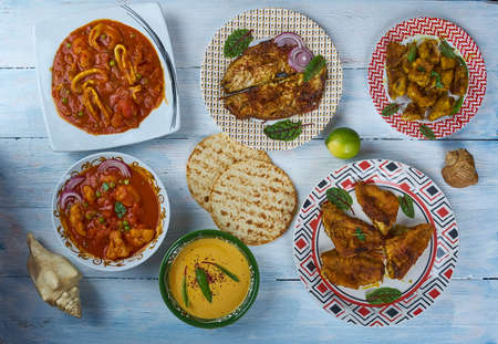 Kerala Style cuisine, Traditional assorted dishes, Top view.