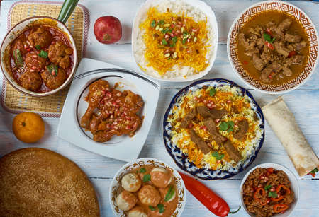 Afghani uisine, central Asia Traditional assorted dishes, Top view.