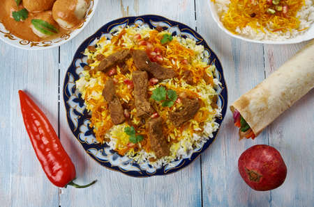 Afghani Pulao, Afghani uisine, central Asia Traditional assorted dishes, Top view.
