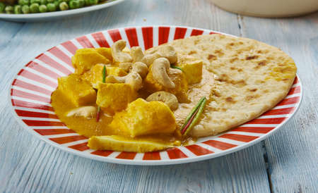 Creamy Cashew Indian Butter Paneer, delicious sauce with fried paneer.  Stock Photo