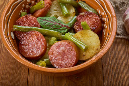 Kielbasa Green Bean and Potato Casserole, Sausage Potato Casserole Stock Photo