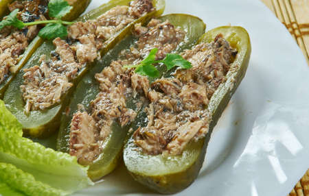 Wicked Tuna Salad Pickle Boats close up