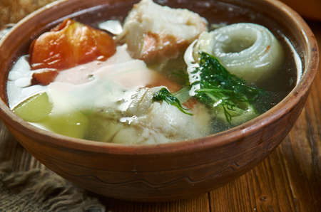 Siberian Ukha, Russian traditional fish  soups , assorted dishes, Top view.