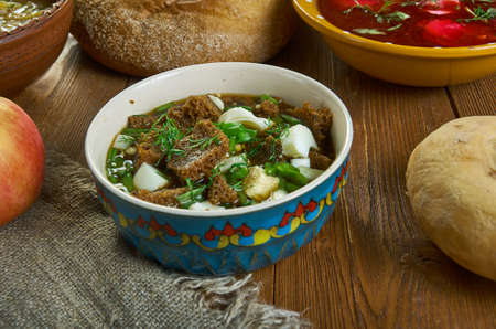 Turya, Russian traditional soups , assorted dishes, Top view. Stock Photo