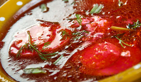 Holodnik , Russian traditional Cold soups , assorted dishes, Top view.Cold borscht Stock Photo