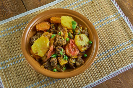 Moroccan, Lamb or Beef Tagine with Potatoes Banco de Imagens