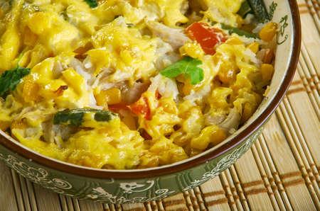 Chicken Pot Pie Rice Bake, chicken, mixed vegetables, cheddar, cream of chicken, sour cream and rice.