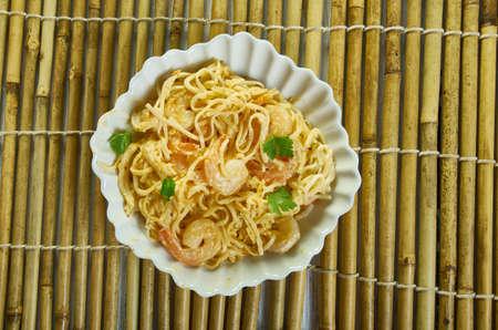 Bang Bang Shrimp Pasta, in a sauce made from mayonnaise, sweet chili sauce, and Sriracha