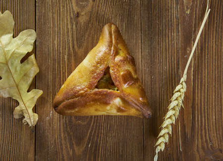 Ocpochmaq,  triangular pastry, filled with minced beef, onion and potatoes., Tatar national  cuisine, Traditional assorted Asia dishes, Top view.