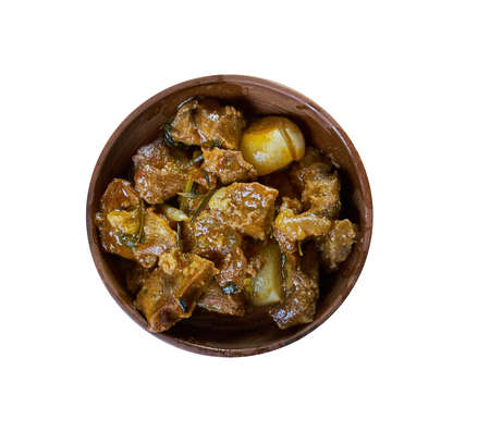 Carbonnade flamande , raditional Belgian, French Flemish, Northern Brabantian and Zeelandic Flemish sweet-sour beef and onion stew made with beer,, Belgian national  cuisine, Traditional assorted Asia dishes, Top view. Stock Photo