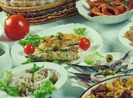 Italian-American cuisine, Traditional assorted dishes, Top view.