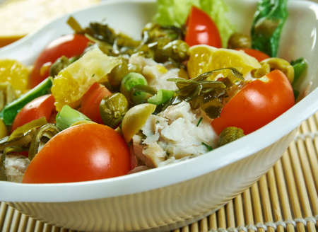 Healthy Salad of Cod, Tomato, Seaweed, Capers and Olives