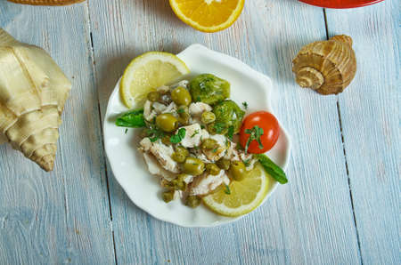 Mediterranean Cod Salad with capers, olives and olive oil