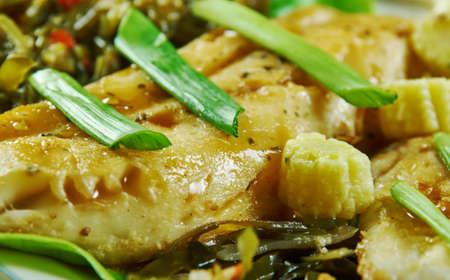 Honey-Soy Cod with Ginger Bok Choy Banco de Imagens