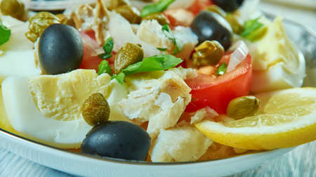 Portuguese Cod Fish Salad - Bacalhau com Grao close up