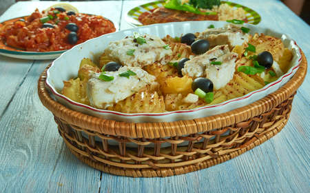 Portuguese Braga Style Cod , close up codfish. Imagens