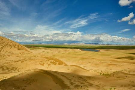 Mongolia. Sands Mongol Els, sandy dune desert, bright sunny day Stok Fotoğraf