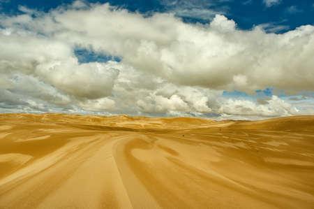 Mongolia. Sands Mongol Els, sandy dune desert, bright sunny day Stockfoto