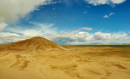 Mongolia. Sands Mongol Els, sandy dune desert, bright sunny day Stock Photo