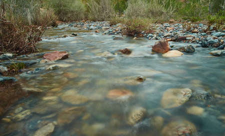Chagan Uzun river with water blurred by long exposure