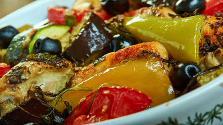 Greek Chicken Traybake,packed with roasted peppers, tomatoes, olives, red onion and chicken.