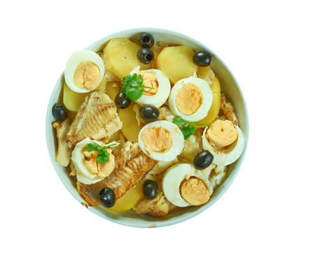 Bacalao or Bacalhoada,  Portuguese salt cod stew Stock fotó - 129176591