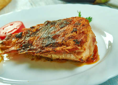 Lemongrass and coconut curry roast fish, authentic Asian cuisine