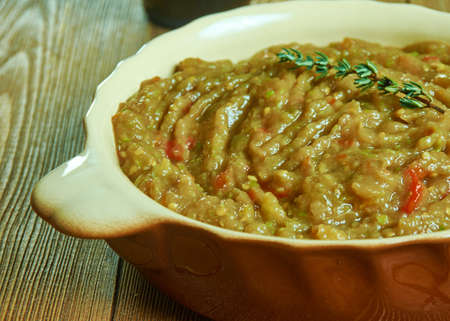 Kyopolou, popular Bulgarian and Turkish spread, relish and salad made principally from roasted eggplants and garlic.