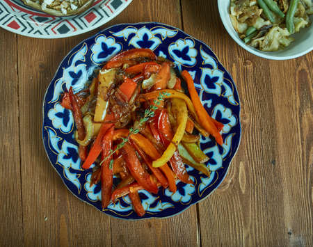 Caramelized Onions and Bell Peppers, Central Asian Cuisine