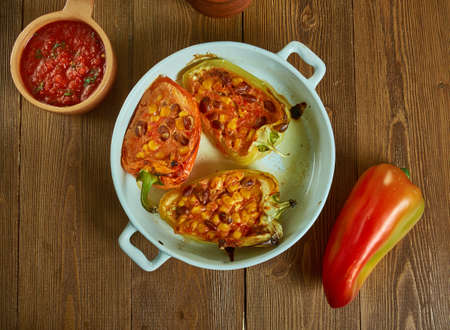Chili Stuffed Spaghetti bell peppers , oasted spaghetti squash filled with a hearty two-bean vegetable chili Stockfoto - 129994707
