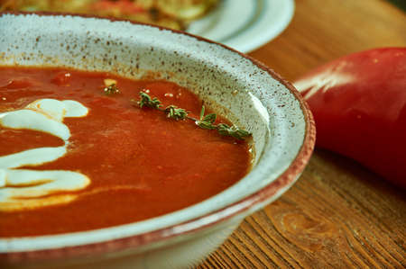 Dutch tomato soup, different foods from the Netherlands. Фото со стока