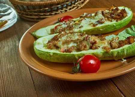 Taco Stuffed Summer Squash Boats, Tex-Mex  gluten-free baked Reklamní fotografie