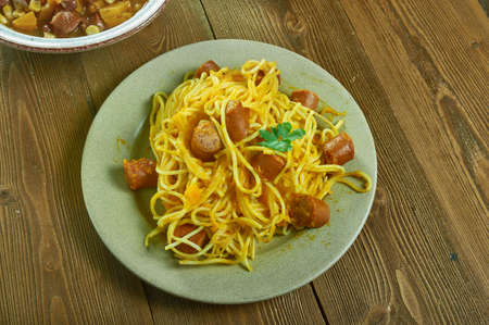 Baked Butternut Squash and Sausage Pasta, close up Фото со стока