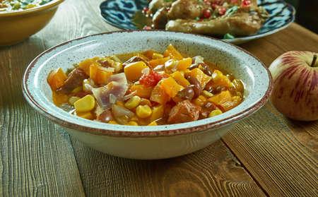 Bean  kidney Stew With Sausage, Butternut Squash, close up