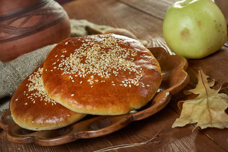 Middle Eastern Sesame flapjack  close up