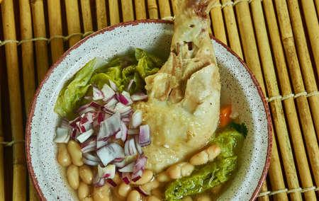 Gallina pinta, soup is originally from Sonora, Mexico. Foto de archivo