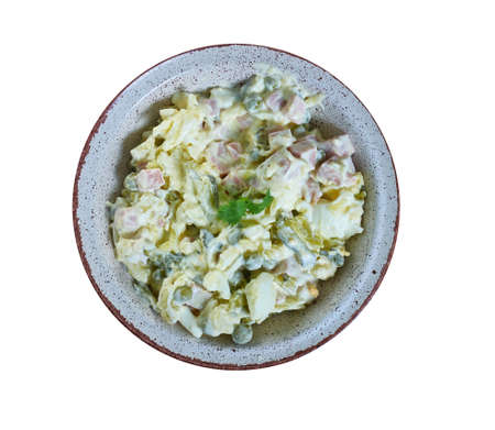 Ruska salata, Bulgarian Olivier salad, national  cuisine, Traditional assorted Balkans dishes, Top view.