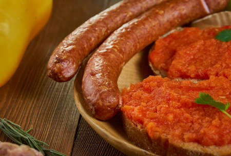 Nadenitsa, dry cured sausage.  Bulgarian, national  cuisine, Traditional assorted Balkans dishes, Top view.