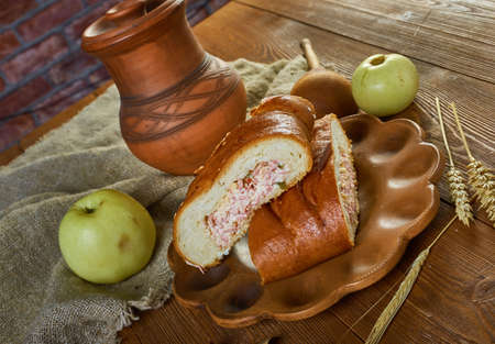 Scandinavian stuffed pies with ham and cheese 版權商用圖片