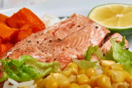 Southwest Salmon Bowl salad close up