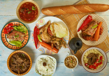 Senegalese African cuisine, Traditional assorted Asia dishes, Top view.