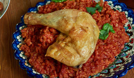 Riz Gras, delicious chicken and rice dish, Burkina Faso cuisine, Traditional assorted African dishes, Top view.