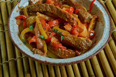 Pierna de res a la cazuela, Costa Rica beef leg casserole with vegetables. Stock Photo