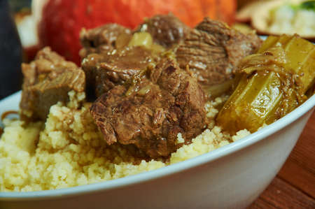 Munyu Caf Couscous, Burkina Faso cuisine, Traditional assorted African dishes, Top view.