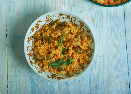 Firik Pilavi, Middle Eastern , Turkish Freekeh pilaf with chickpeas Banco de Imagens