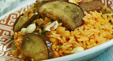 Kir Piiav, Turkish fried rice with nuts and eggplant