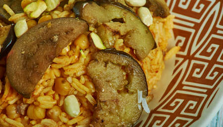 Kir Piiav, Turkish fried rice with nuts and eggplant